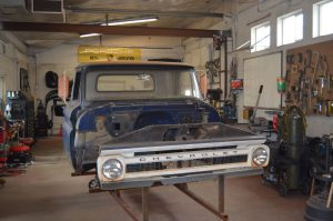 1965 Chevy C10 in metal shop