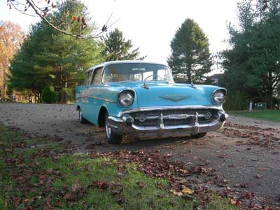 teal 1957 Chevy Nomad